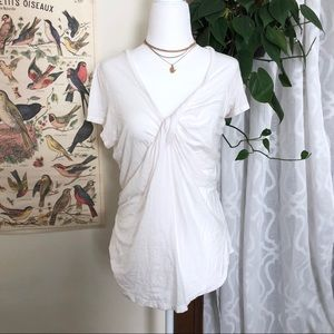 Free People Twist Front White Tee